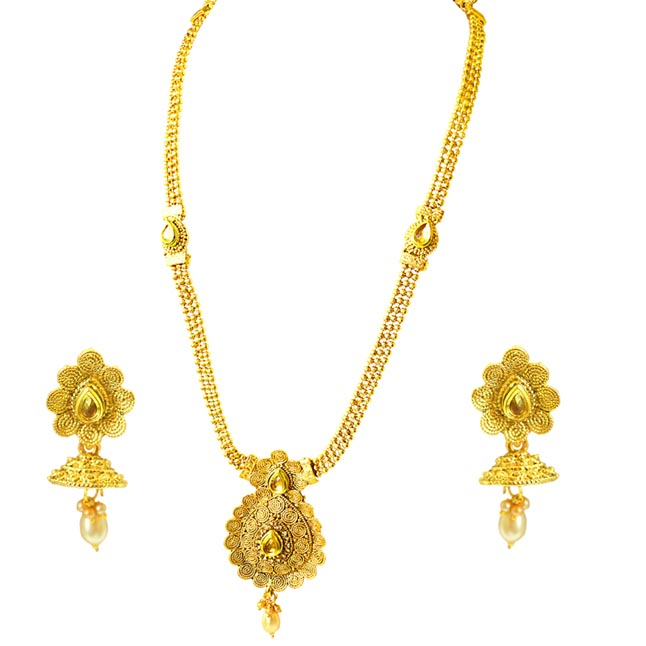 Traditional Drop Shaped Colored Stone and Gold Plated Necklace Earring Fashion Jewellery Set (PS432)
