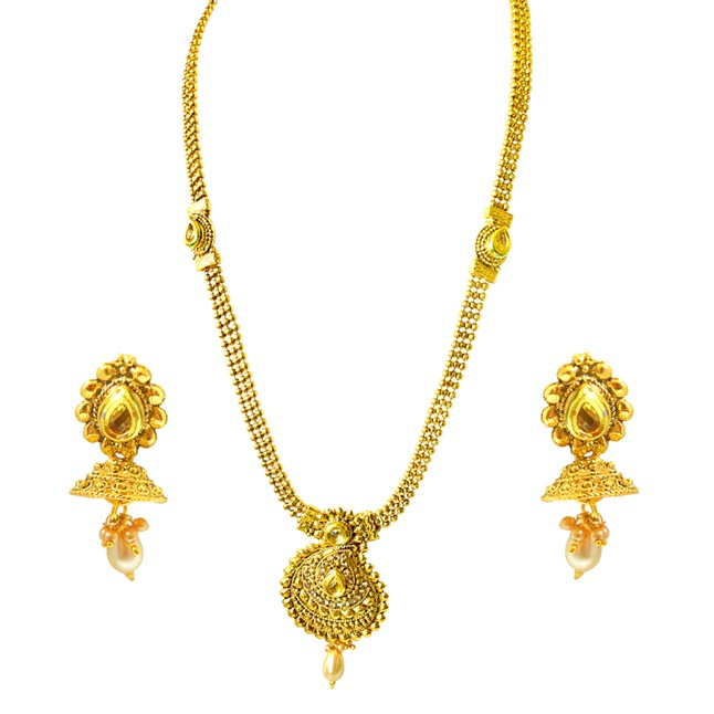 Traditional Mango Motif Colored Stone and Gold Plated Necklace Earring Fashion Jewellery Set (PS433)