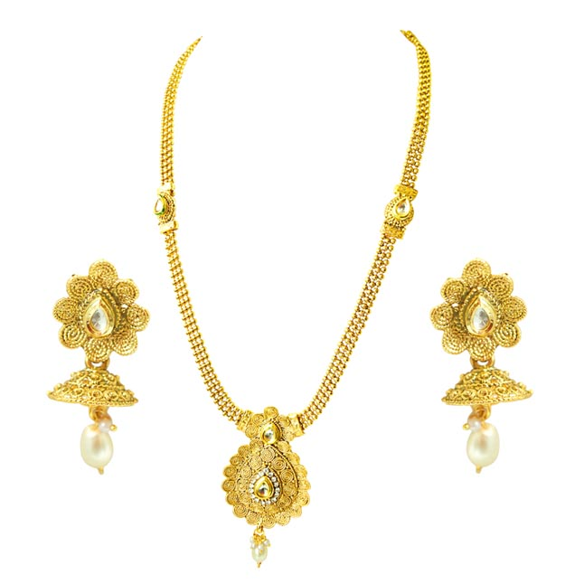 Traditional Drop Shaped Colored Stone and Gold Plated Necklace Earring Fashion Jewellery Set (PS434)