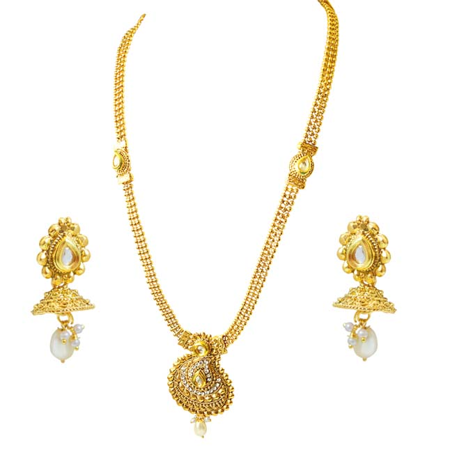 Traditional Mango Motif White Stone and Gold Plated Necklace Earring Fashion Jewellery Set (PS446)