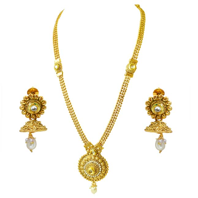 Traditional Round Shaped White Stone and Gold Plated Fashion Jewellery Set (PS447)