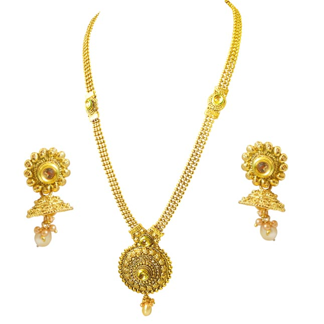 Traditional Round Shaped Colored Stone and Gold Plated Necklace Earring Fashion Jewellery Set (PS448)