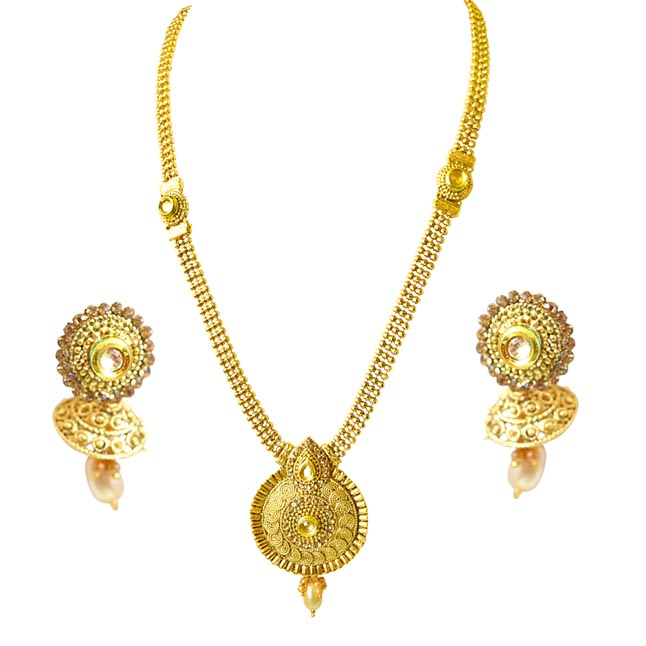 Traditional Drop Shaped Colored Stone and Gold Plated Necklace Earring Fashion Jewellery Set (PS449)