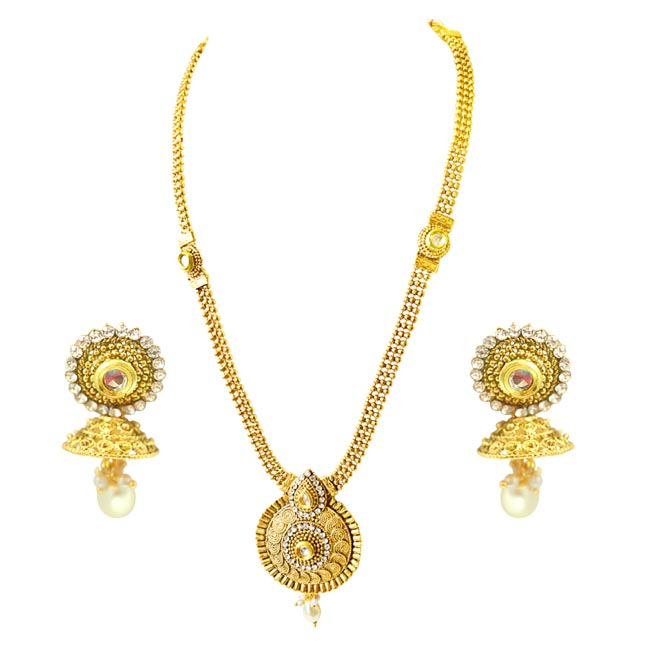 Traditional Drop Shaped White Stone and Gold Plated Necklace Earring Fashion Jewellery Set (PS450)