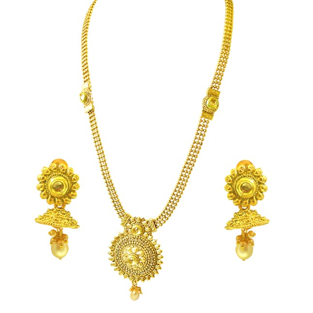 Traditional Round Shaped Colored Stone and Gold Plated Necklace Earring Fashion Jewellery Set for (PS451)