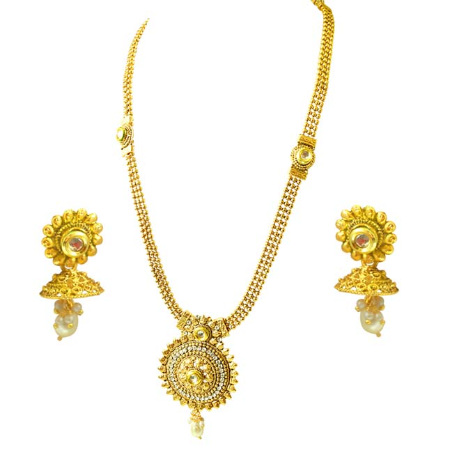 Traditional Round Shaped White Stone and Gold Plated Necklace Earring Fashion Jewellery Set (PS452)