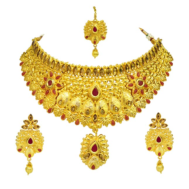Ethnic Choker Style Gold Plated Designer Red Colored Stone Fashion Jewellery Set for Wedding (PS453)