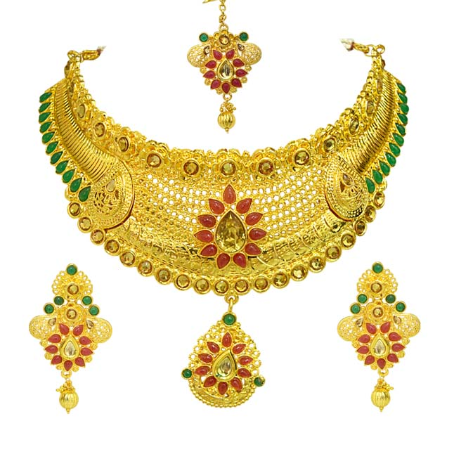 Ethnic Choker Style Red and Green Colored Stone and Gold Plated Designer Coloured Stone Fashion Jewellery Set for Wedding (PS454)
