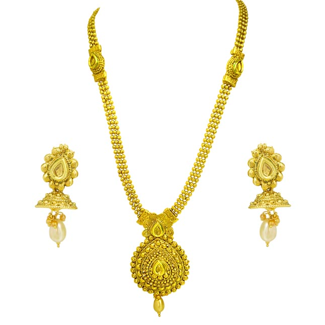 Traditional Round Shaped Colored Stone and Gold Plated Necklace Earring Fashion Jewellery Set for (PS456)
