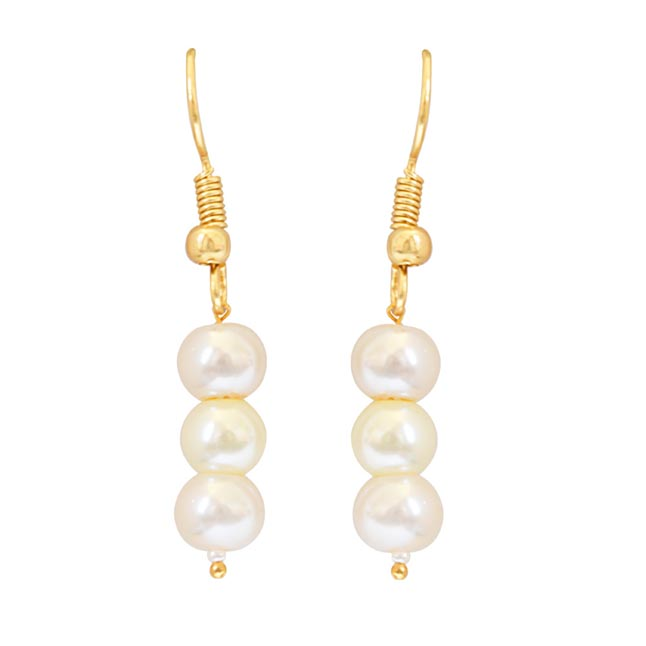 2 Line White Shell Pearl and Stone Ring Necklace Earring Set PS466