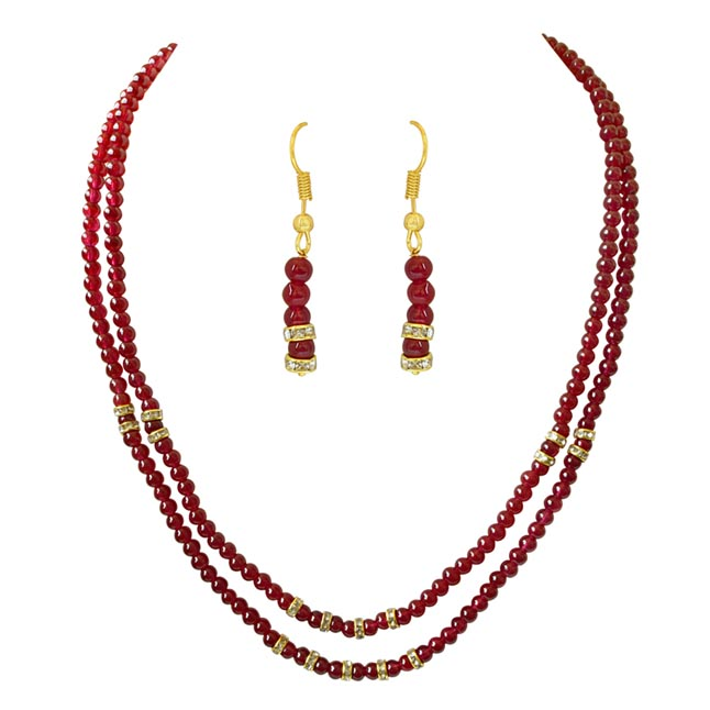 Two Line Red Beads Necklace & Earring Set for Women PS467