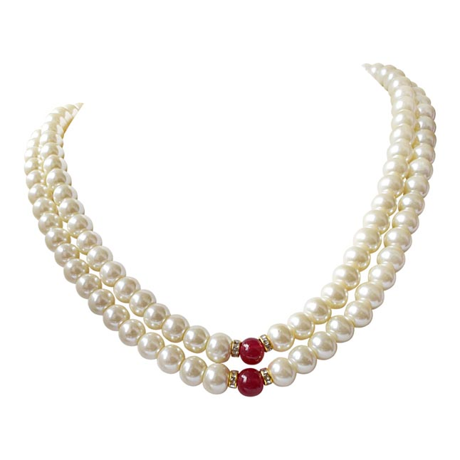 2 Line White Shell Pearl and Red Stone Necklace PS468