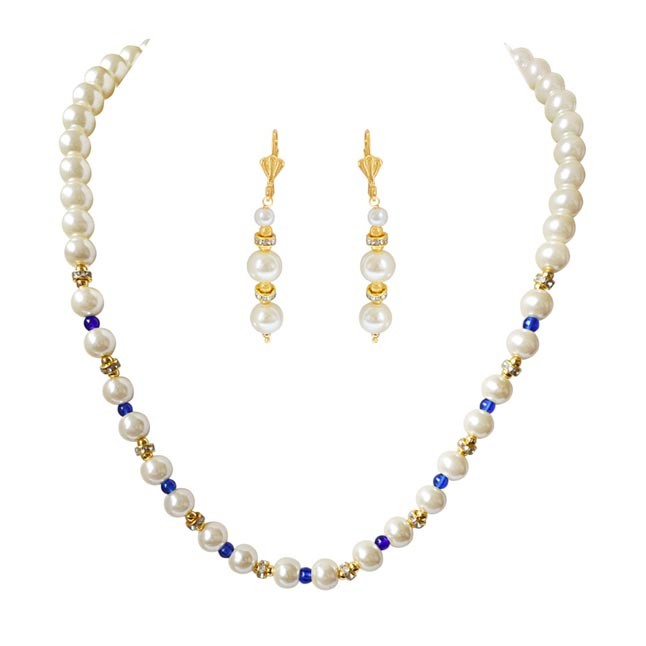 Single Line White Shell Pearl, Blue Colure Stone & Stone Ring Necklace Earring Set PS469
