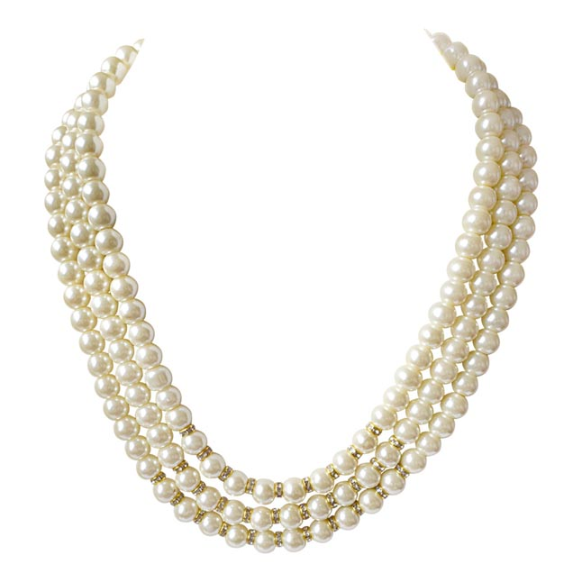 3 Line White Shell Pearl and Stone Ring Necklace PS470