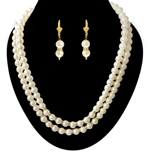 2 Line White Shell Pearl and Stone Ring Necklace Earring Set PS471