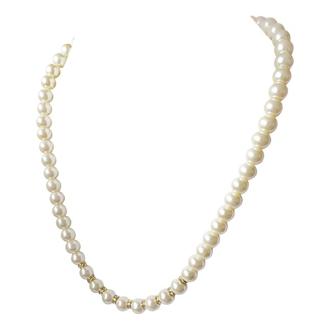 Single Line White Shell Pearl and Gold Plated Stone Ring Necklace PS472