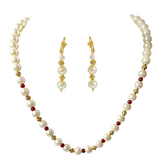 Single Line White Shell Pearl, Red Colour Stone & Stone Ring Necklace Earring Set PS473