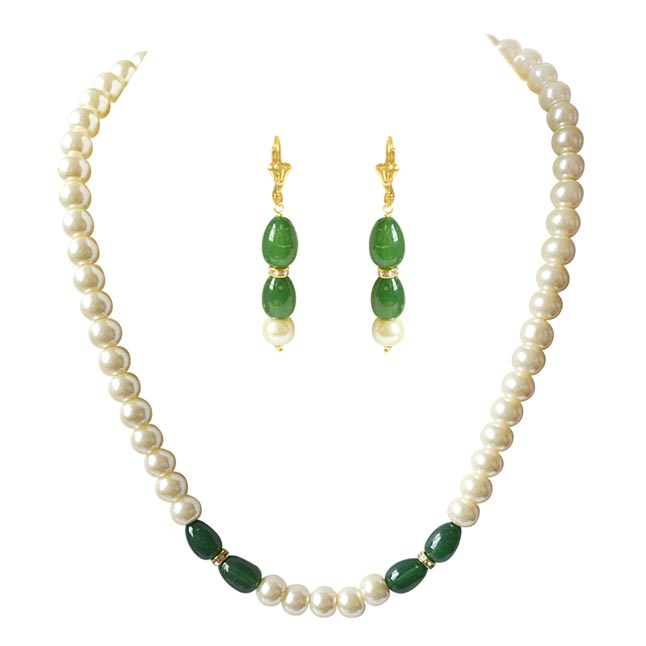Single Line White Shell Pearl, Oval Shaped Green Stone & Stone Ring Necklace Earring Set PS474