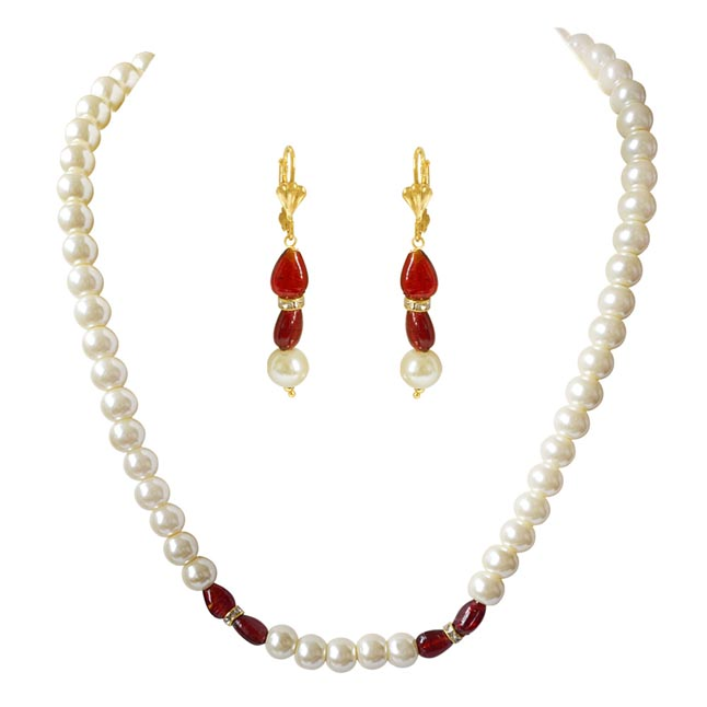 Single Line White Shell Pearl, Oval Shaped Red Stone & Stone Ring Necklace Earring Set PS475