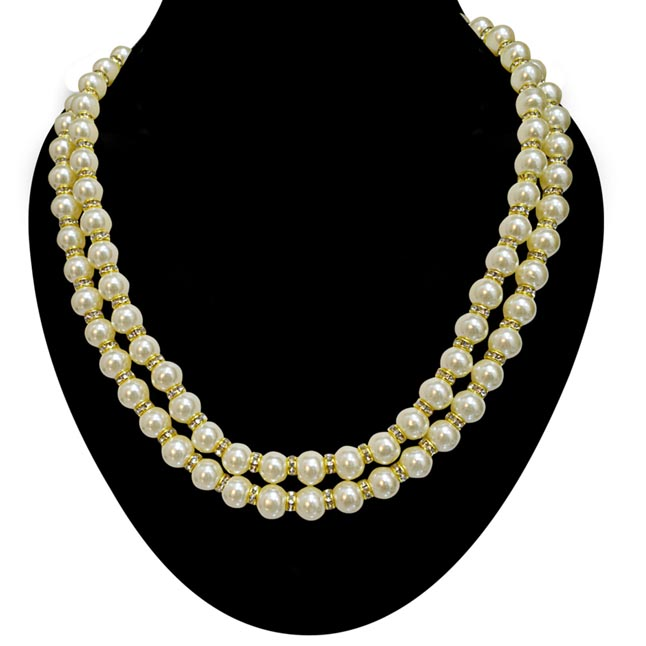 2 Line White Shell Pearl and Gold Plated Stone Ring Necklace PS476