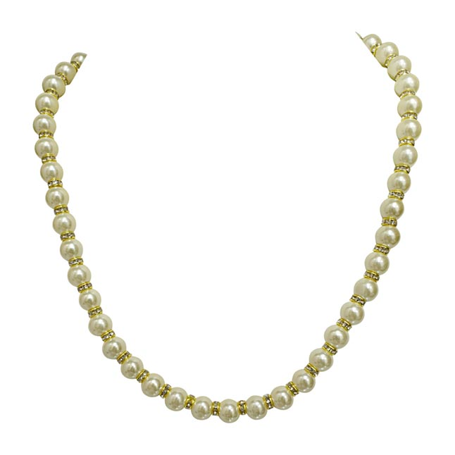 Single Line White Shell Pearl and Gold Plated Stone Ring Necklace (PS477)