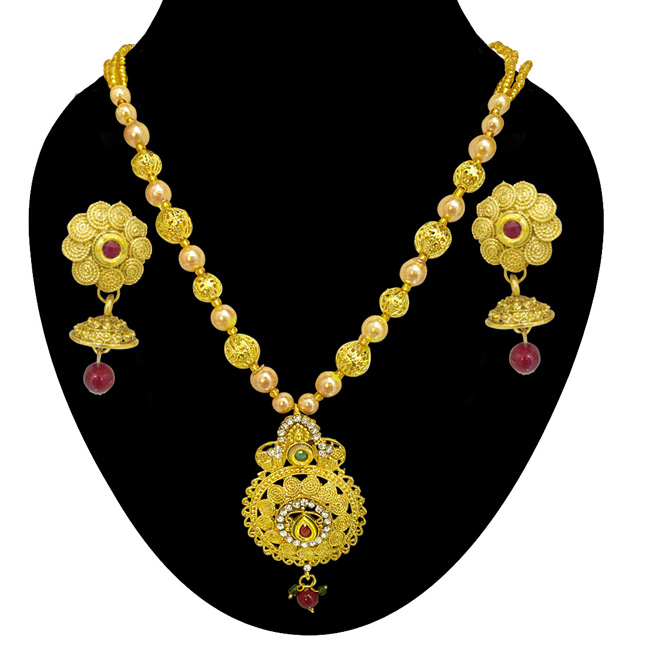 Drop Shaped Colored Stone, Shell Pearl and Gold Plated Pendant Necklace & Earring Set for Women (PS516)