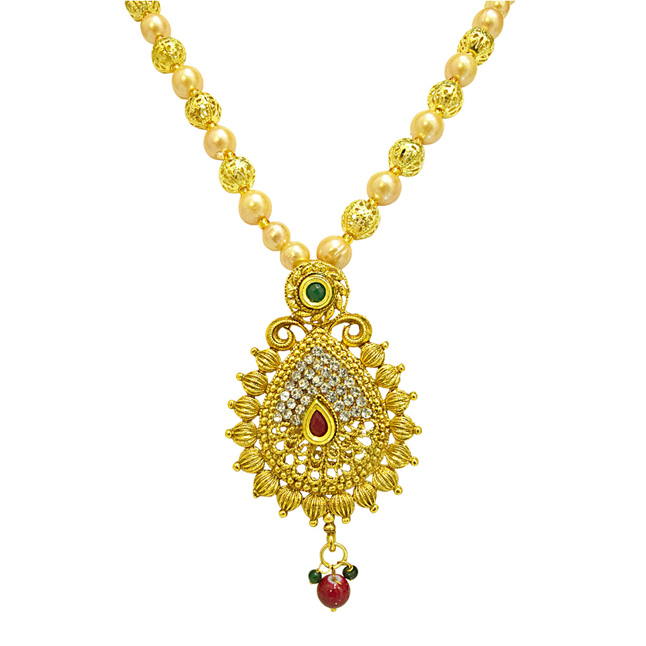 Traditional Drop Shaped Colored Stone, Shell Pearl and Gold Plated Pendant Necklace & Earring Set for Women (PS517)