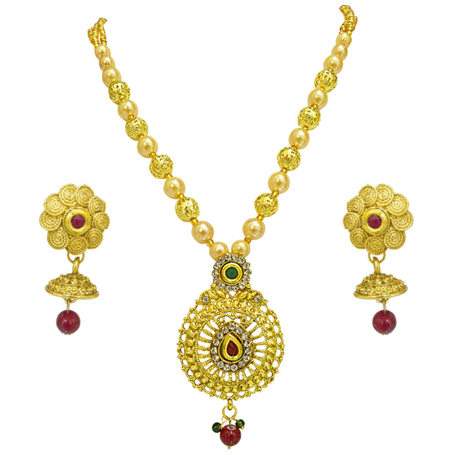 Ethnic Oval Shaped Colored Stone, Shell Pearl and Gold Plated Pendant Necklace & Earring Set for Women (PS518)