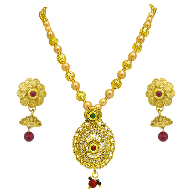 Elegantly Designed Colored Stone, Shell Pearl and Gold Plated Pendant Necklace & Earring Set for Women (PS519)