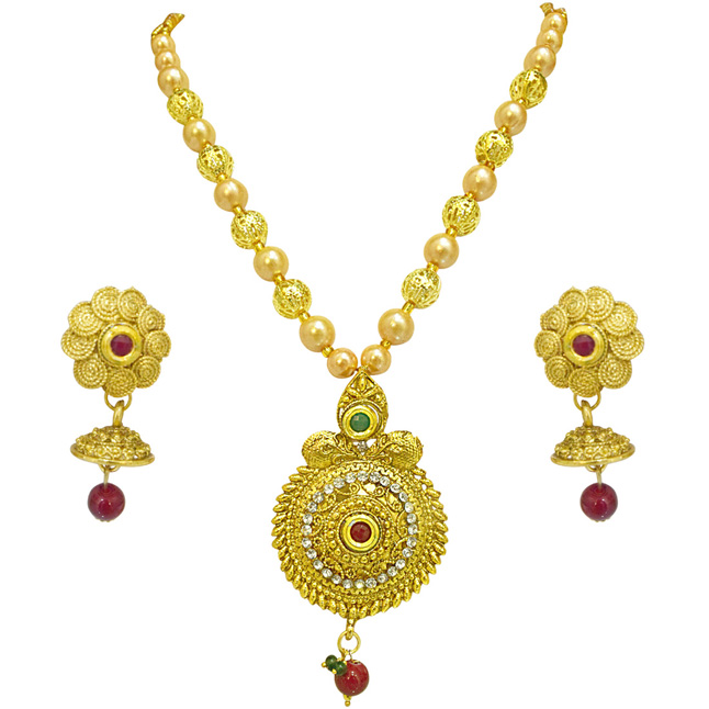 Traditional Round Shaped Colored Stone, Shell Pearl and Gold Plated Pendant Necklace & Earring Set for Women (PS520)