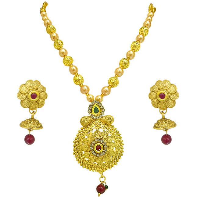 Spiral Design Colored Stone, Shell Pearl and Gold Plated Pendant Necklace & Earring Set for Women (PS521)
