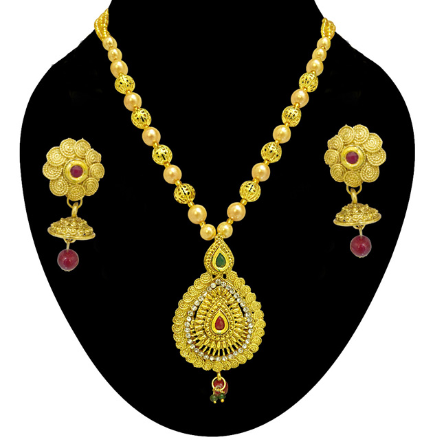 Drop Shaped Spiral Colored Stone, Shell Pearl and Gold Plated Pendant Necklace & Earring Set for Women (PS522)