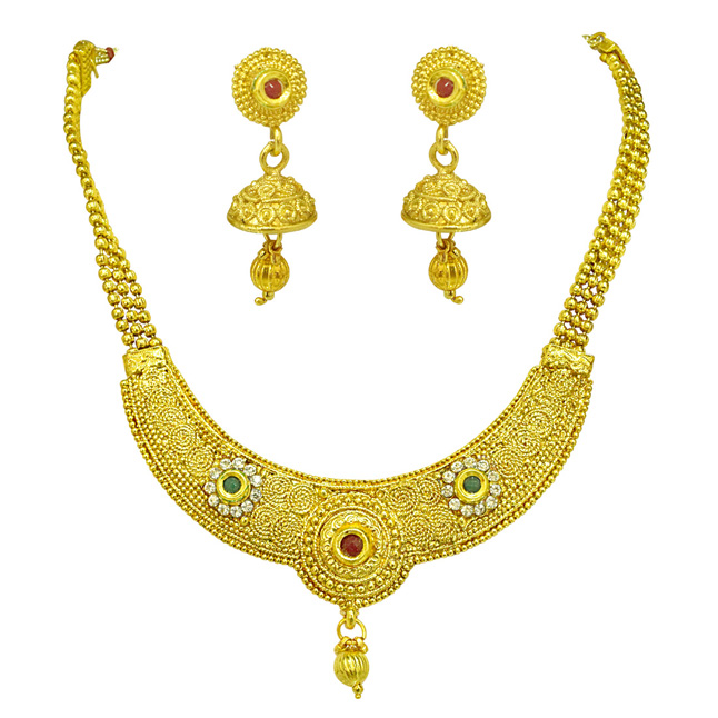 Round Shaped Colored Stone and Gold Plated Necklace & Earring Fashion Jewellery Set for Women (PS523)
