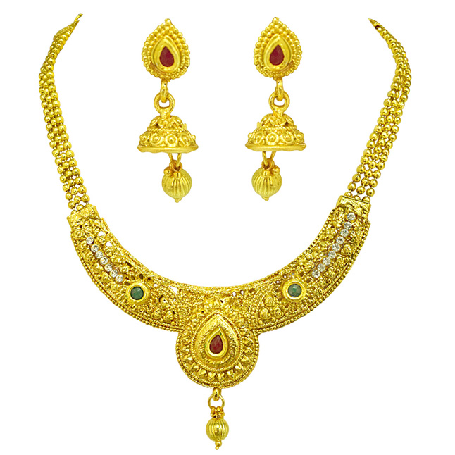 Ethnic Colored Stone and Gold Plated Necklace & Earring Fashion Jewellery Set for Women (PS524)