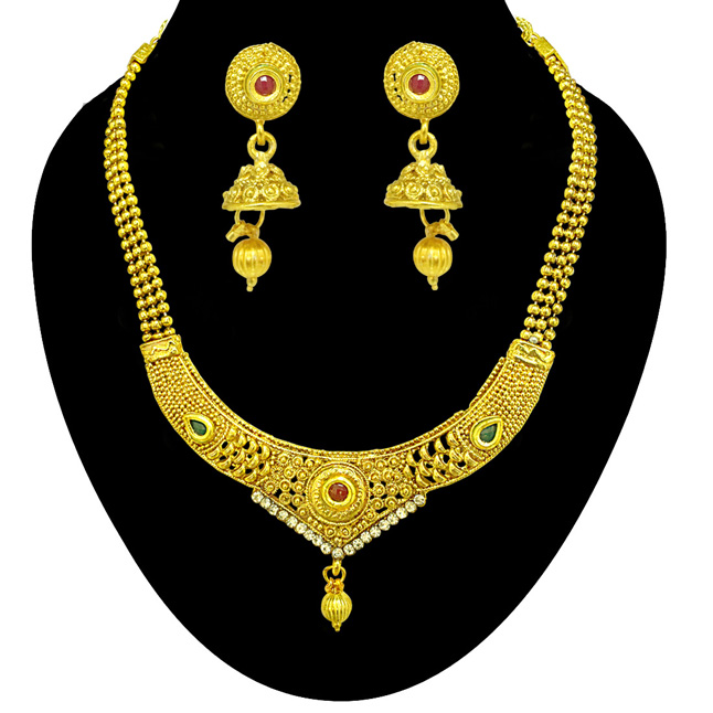 Traditional Designer Shaped Colored Stone and Gold Plated Necklace & Earring Fashion Jewellery Set for Women (PS526)