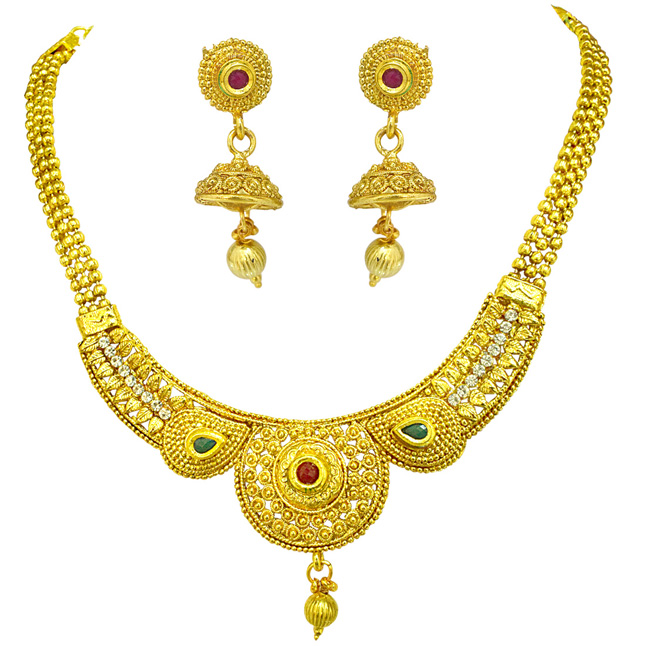 Delicate Round Shaped Colored Stone and Gold Plated Necklace & Earring Fashion Jewellery Set for Women (PS527)