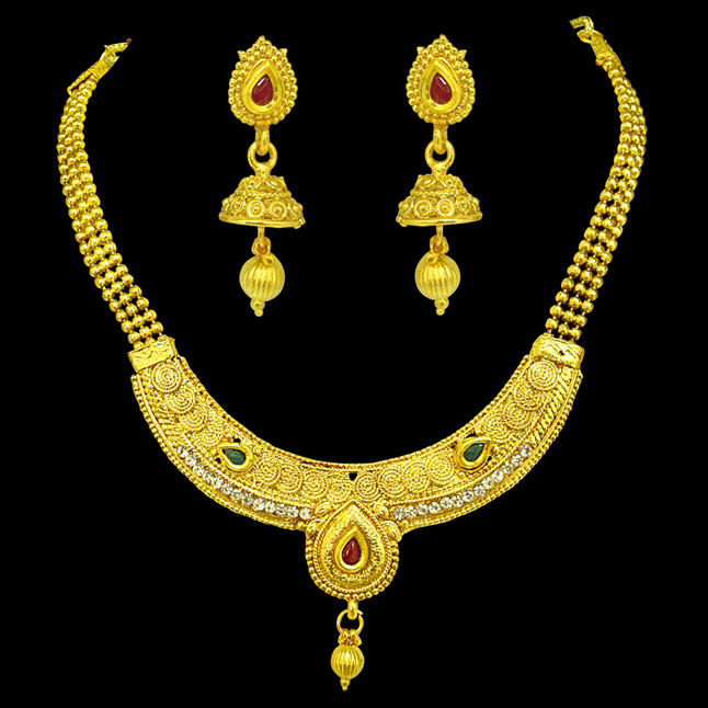 Delicate Spiral Design Colored Stone and Gold Plated Necklace & Earring Fashion Jewellery Set for Women (PS528)