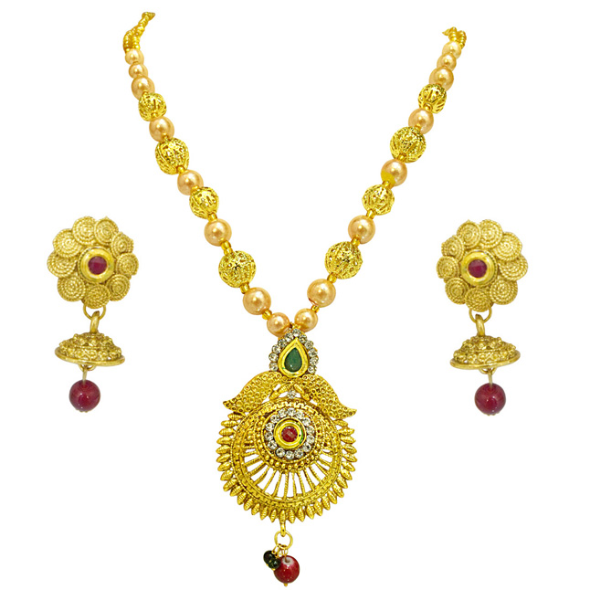 Designer Round Shaped Colored Stone, Shell Pearl and Gold Plated Pendant Necklace & Earring Set for Women (PS529)