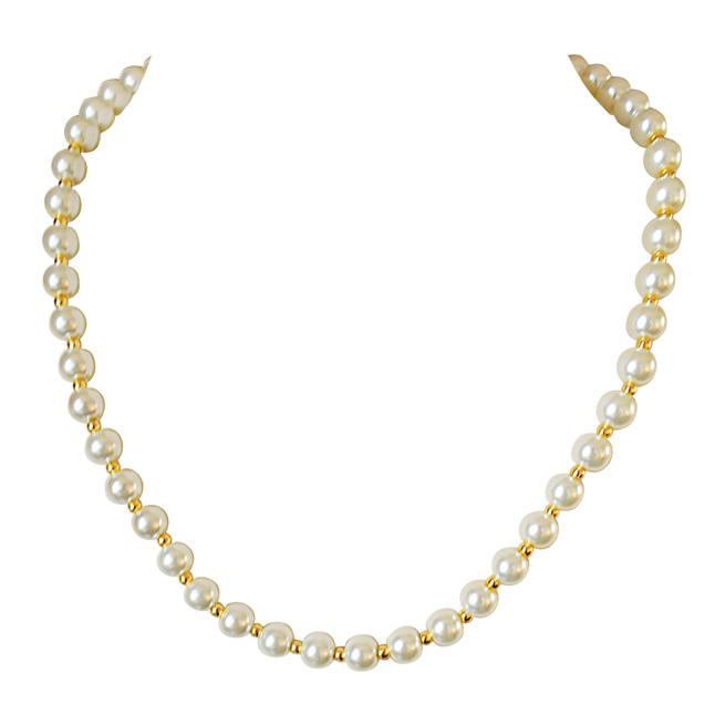 Single Line White Shell and Gold Plated Beads Pearl Necklace (PS531)