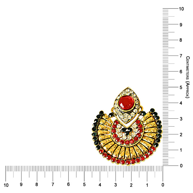 Multi-Colored Stone Gold-Plated Chandbali Earrings For Women