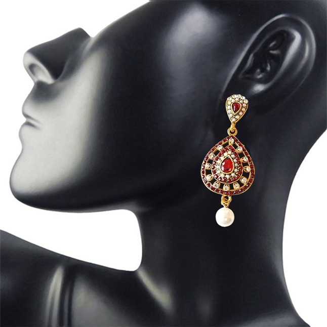 Drop Shaped Red & White Coloured Stone, Shell Pearl & Gold Plated Ch Bali Earrings