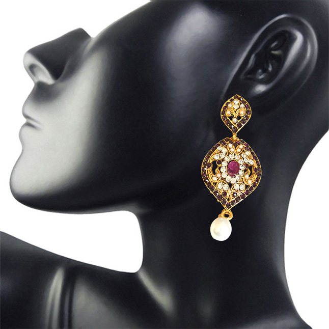 Drop Shaped Designer Purple & White Coloured Stone, Shell Pearl & Gold Plated Ch Bali Earrings