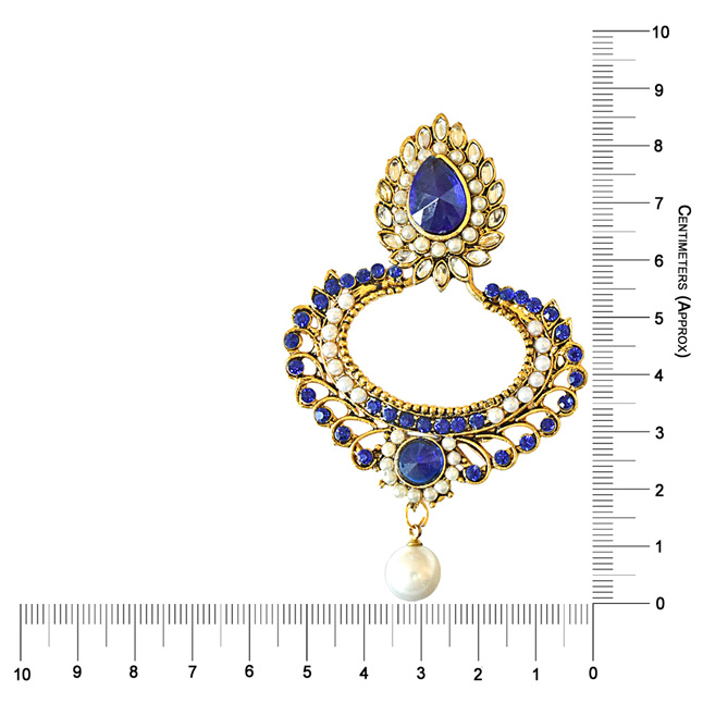 Drop Shaped Blue & white Coloure Stones, Shell Pearl & Gold Plated Ch Bali Earrings