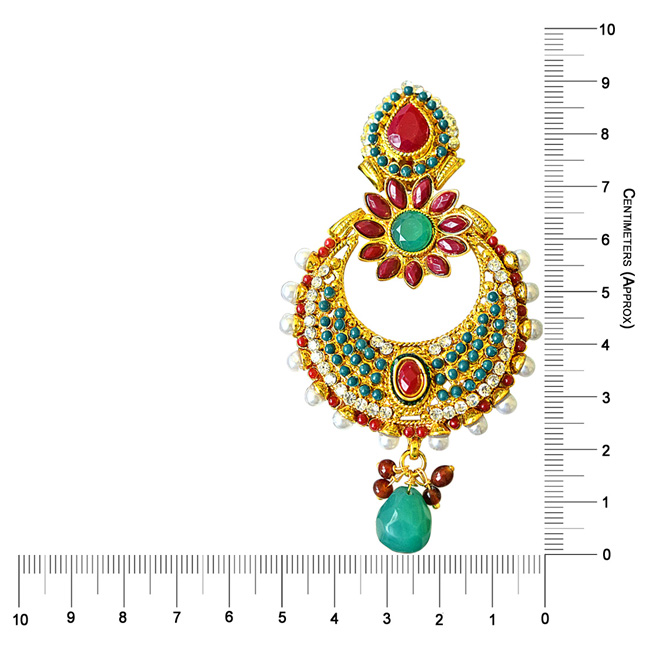 Floral Shaped Red & Green Stone & White Shell Pearl Copper Gold Plated Ch Bali Earrings