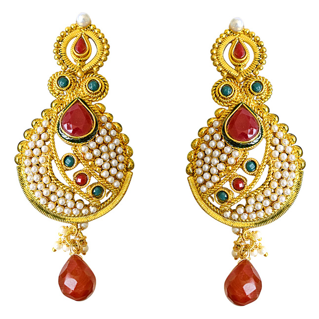 Ethnic Copper Gold Plated Red