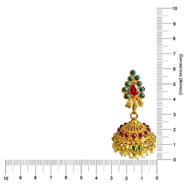 Traditional Red & Green Coloured Stone & Gold Plated Copper Jhumki Earrings