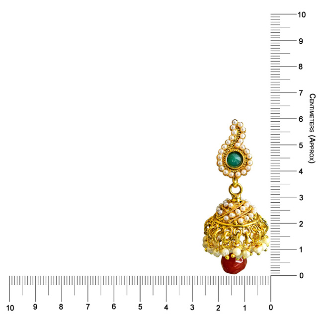 Traditional Mango Motif Red & Green Stone & Gold Plated Copper Jhumki Earrings