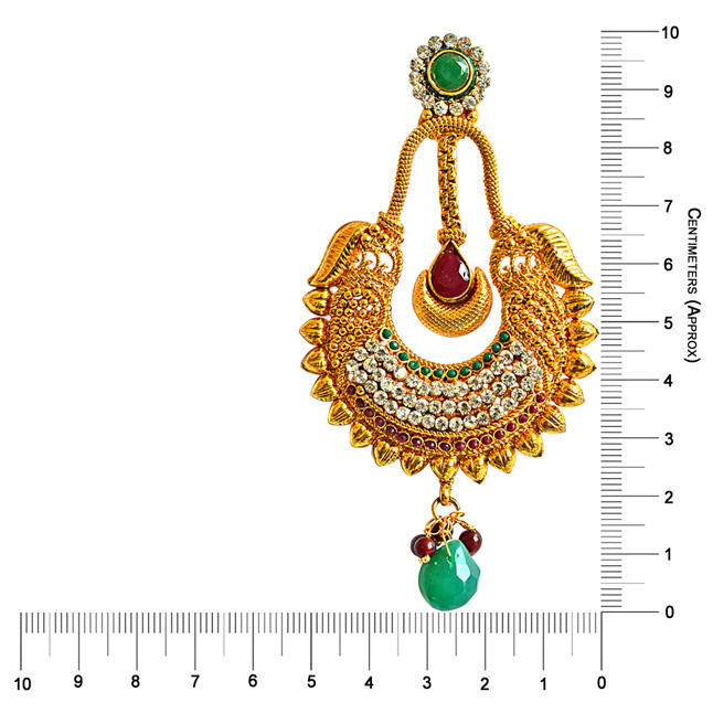 Traditional Red & Green Coloured Stone & Gold Plated Copper Dangling Earrings