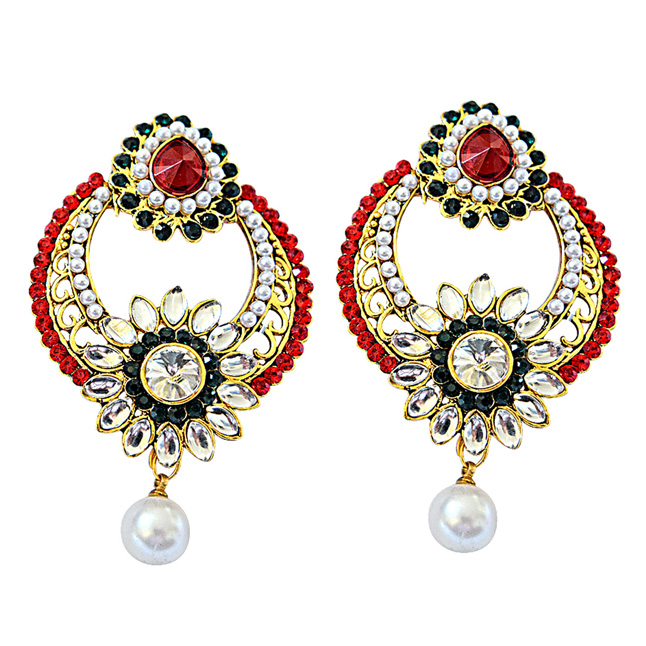 Ethnic Red, Green & White Coloured Stone Chandbali Earrings