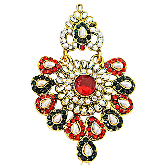 Floral Shaped Red, Green & White Coloured Stone Chandbali Earrings